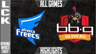 Afreeca Freecs Vs Bbq Olivers  Highlights All Games - LCK W9D3 Spring 2017 AFs Vs BBQ All Games