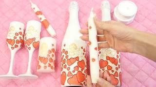 Оформление свадебного набора шампанского, фужеров и свечей в технике декупаж. Выпуск №47