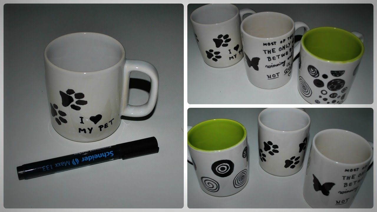 DIY How to decorate a mug with permanent marker YouTube