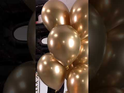 Заказать шары на День Рождения с доставкой. Черные шары цифры + фонтан из шаров Хром золото