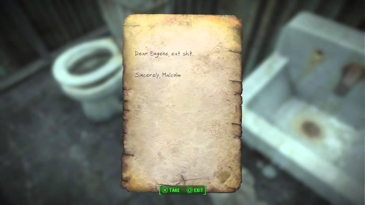 fallout 4 funny bathroom notes