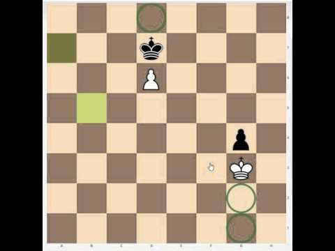 Atomic chess endgame: a pawn blocked by a king