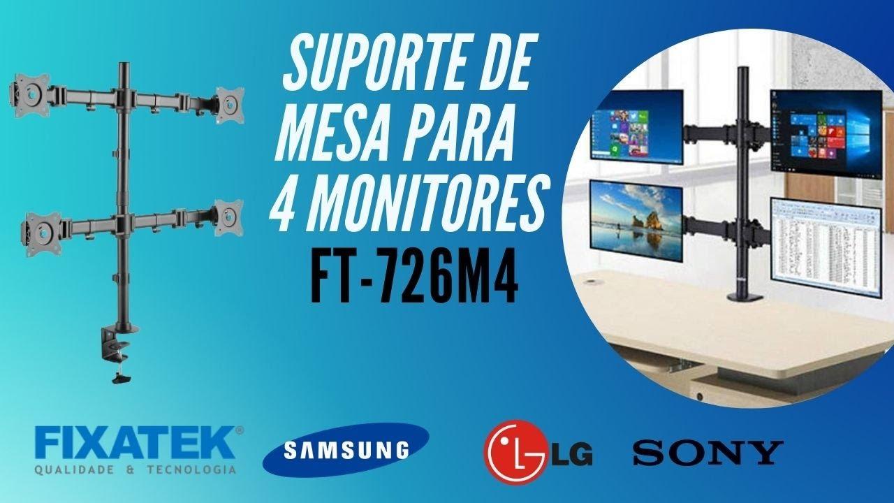 "SUPORTE ARTICULADO MESA PARA 4 MONITORES DE 13 "" A 27 "" FT-726M4 - FIXATEK"