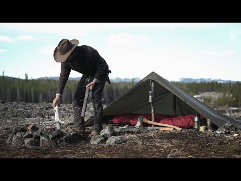 Solo Bushcraft Overnighter In The Chilcotin Backcountry - Stake-less Tarp Shelter, Wild Game Cooking