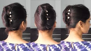 Easy FRENCH BUN hairstyle at home ||Easy French Twist/French roll in Hindi ||TipsToTop By Shalini