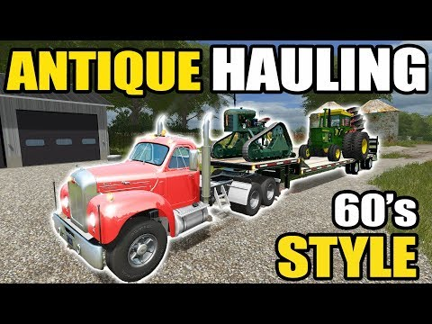 FARMING SIMULATOR 2017 | HAULING 1960's ANTIQUE EQUIPMENT BACK TO THE FARM | ANTIQUE FARMING