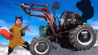 Старый трактор сломался, Весёлый Лёва пришел на помощь. Трактор для детей