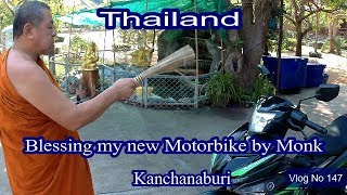 Blessing my new motorbike by our Head Monk in Thailand. Vlog No 147