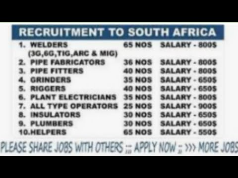 jobs in south africa| large no of vacancy| employment visa| need civil skilled workers | technicians