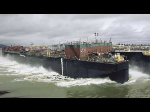 Launch of double hull tank barge OneDream