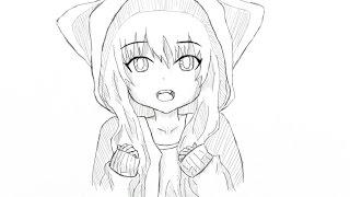 рисуем аниме девушку / fast draw anime girl (3)
