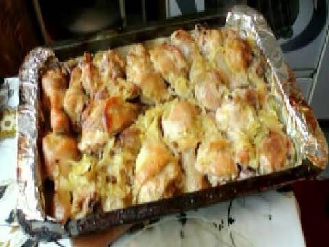 окорочка в духовке с картошкой на протвине