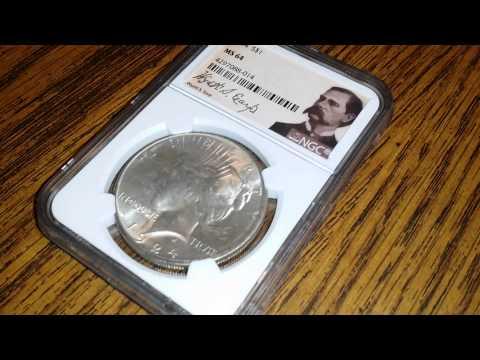 1924 Silver Peace Dollar NCG MS 64 Wyatt Earp