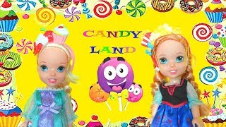 Elsa and Anna Toddlers visit Candy Land & Meet Barbie Nutcracker Queen - Stories Toys and Dolls Play