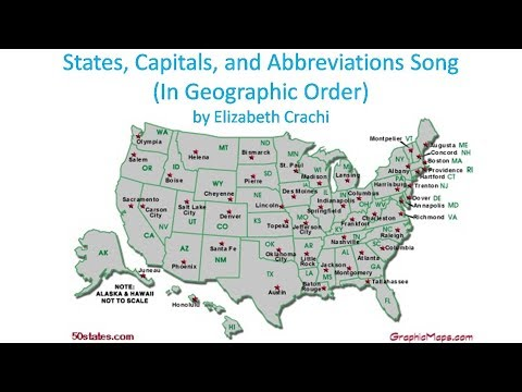 States, Capitals, and Abbreviations Song (In Geographic Order)