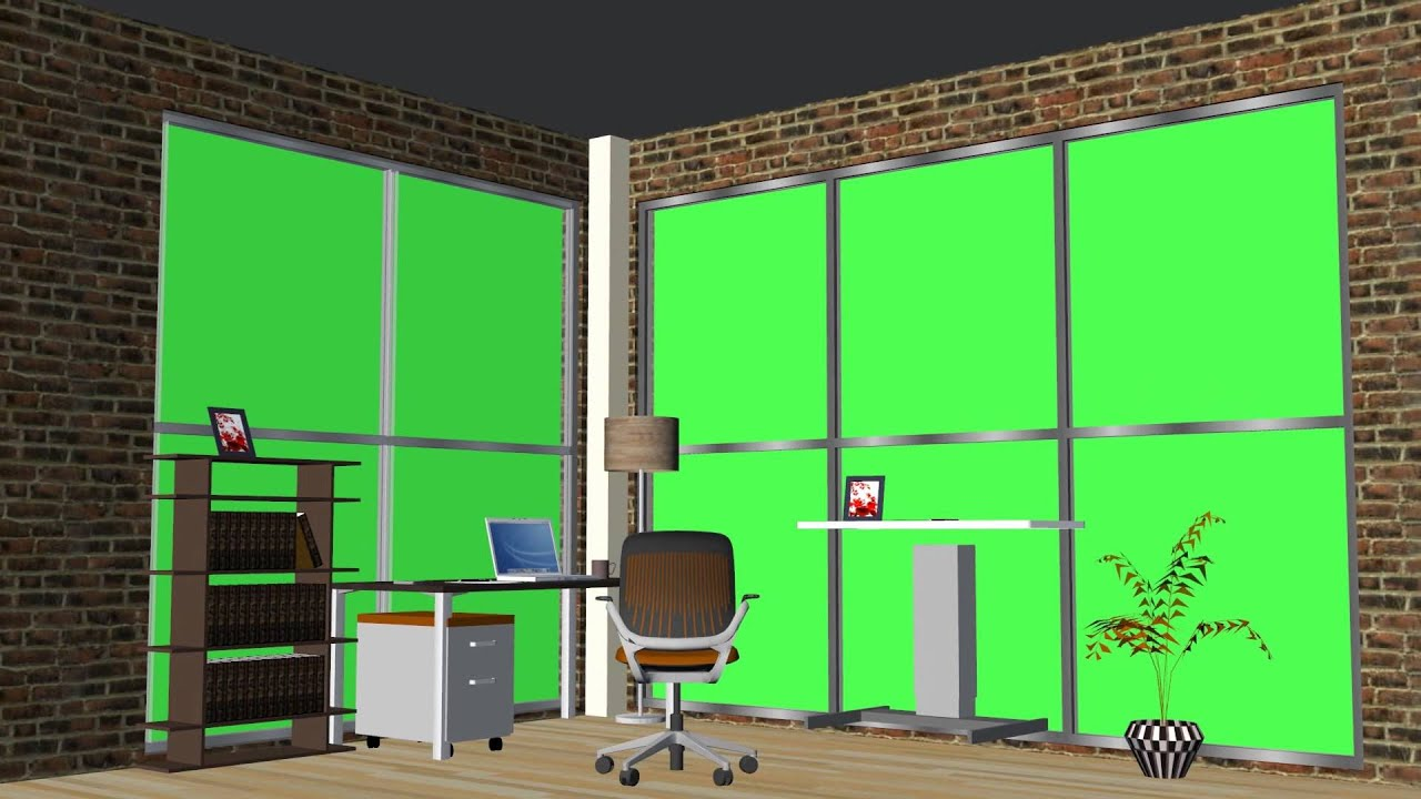 Virtual reality set home office green screen youtube for Virtual office design