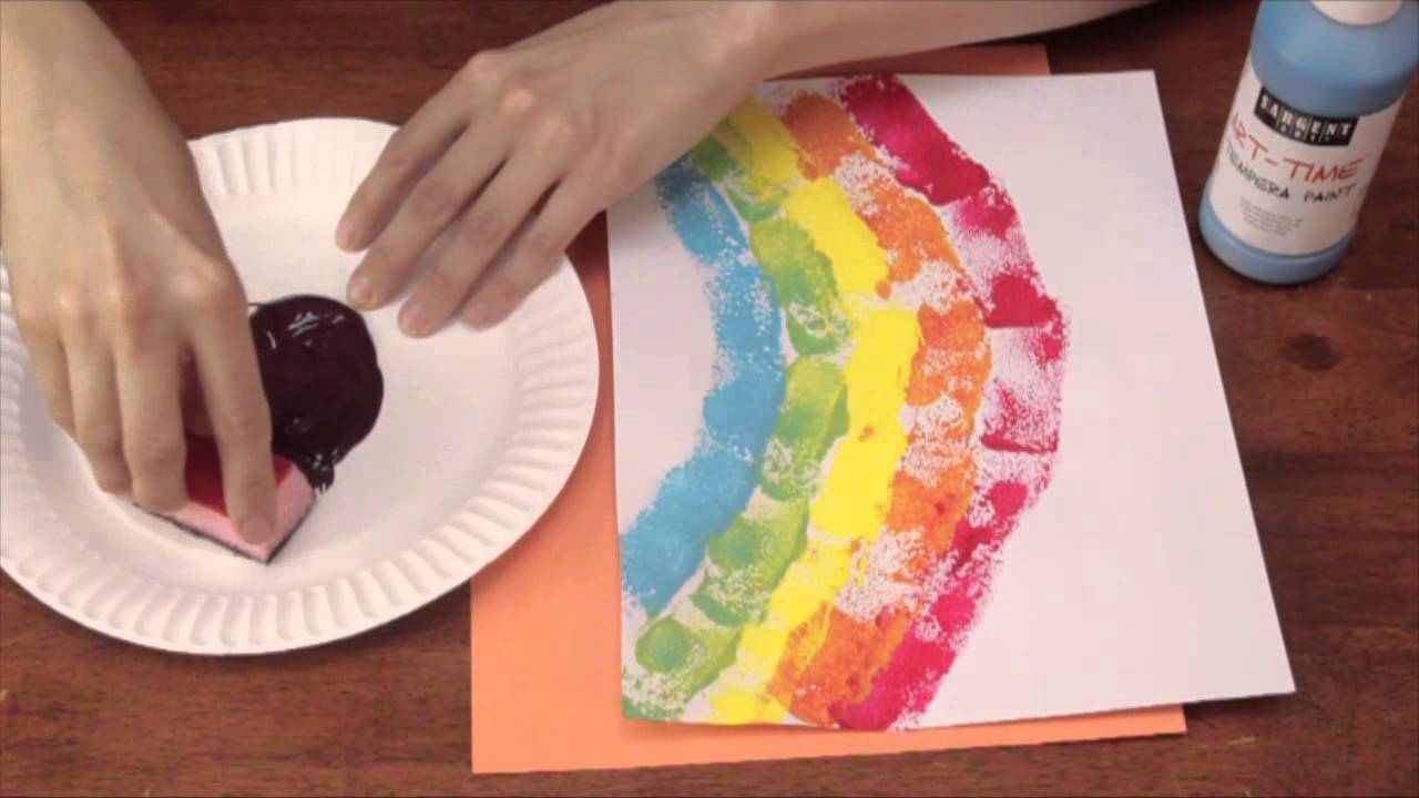 Sponge Printing For Kindergarten Art Activities Crafts Kids