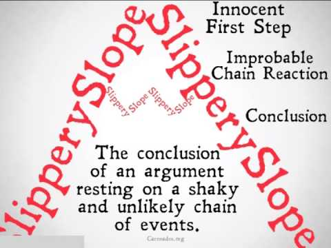 slippery slope 2 essay 1 why is the slippery slope fallacy a fallacy one of the criticisms i received was that the slippery slope fallacy was not really a fallacy in this case.