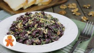 Постный салат из красной фасоли с орехами
