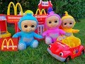 Talking TELETUBBIES  Fun Pretend Play at McDonalds with  Kitchen Toy Playset