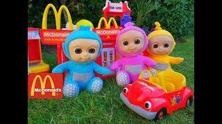 Talking TELETUBBIES  Fun Pretend Play at McDonalds with  Kitchen Toy Playset