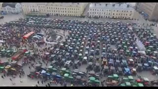 600+ tractors in downtown Helsinki: Farmers protest against food policy, sanctions on Russia