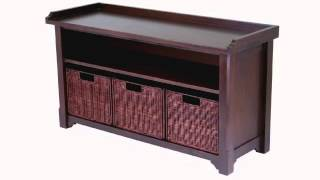 Winsome Wood Milanwood Storage Bench In Antique Walnut Finish With Storage Shelf And 3 Rattan
