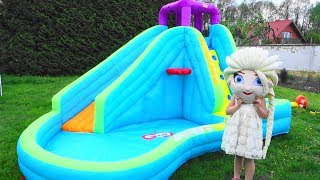 Baby toys water slide pool with Elsa and Kids Children playing with toys video for kids
