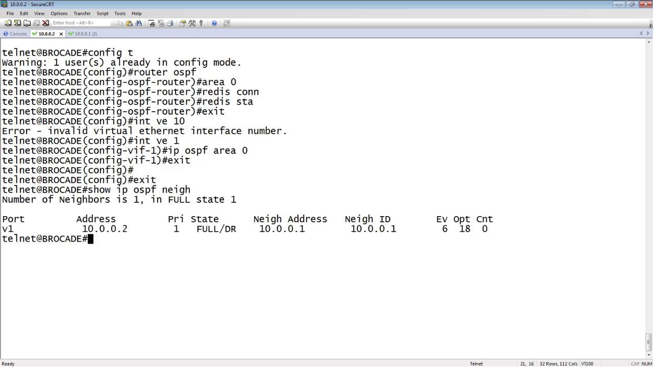 CISCO TO BROCADE BASIC OSPF