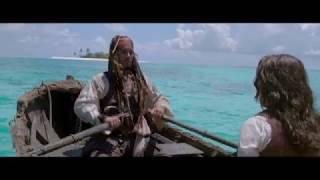 Капитан Джек Воробей высаживает Анжелику на острове. HD