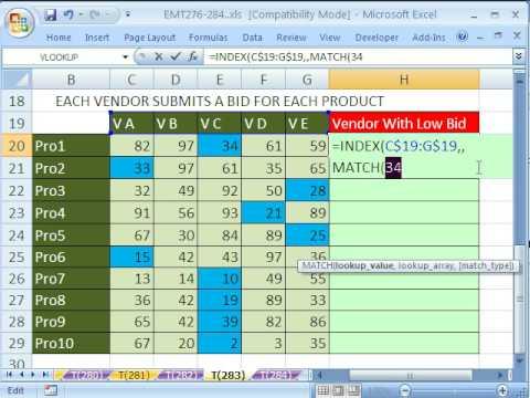 Excel Magic Trick 283 Lookup Vendor Name With Low Bid