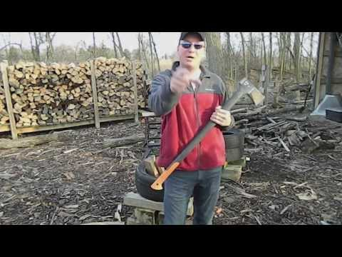 Check out the Fiskars X27 AXE in Action- Splitting Wood