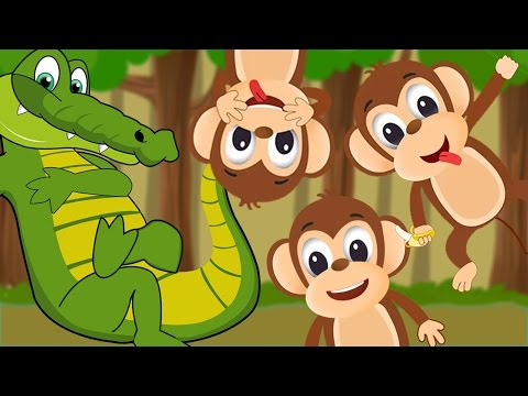 Five Little Monkeys Swinging In The Tree 🐒🐊  Five Little Monkeys Song  Nursery Rhyme With Lyrics