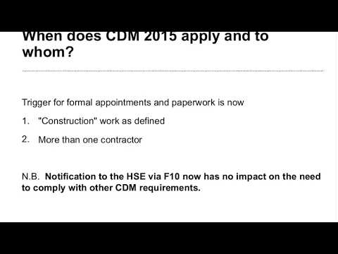 The new Construction (Design and Management) Regulations 2015 - webinar video