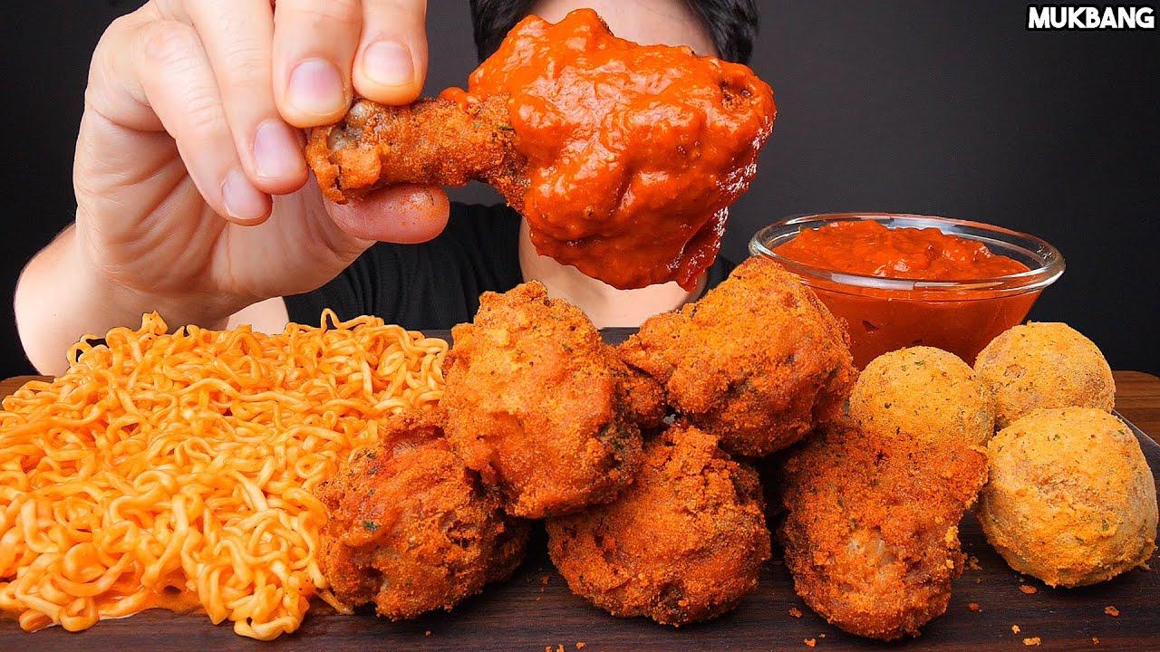 ASMR MUKBANG | CHICKEN CURRY 🍗 CHEESE SPICY FIRE NOODLES EATING SOUNDS 치킨 커리 4가지 치즈 불닭볶음면 소스 퐁당! 먹방