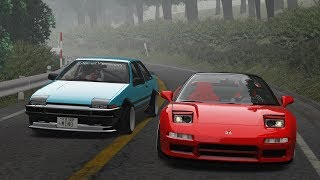 Akagi Attack Touge Battle! NSX vs AE86! - Assetto Corsa