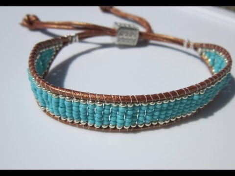 NETA_PORTER BRACELET. Turquoise and silver-beaded leather bracelet. БИРЮЗОВО-СЕРЕБРЯНЫЙ БРА