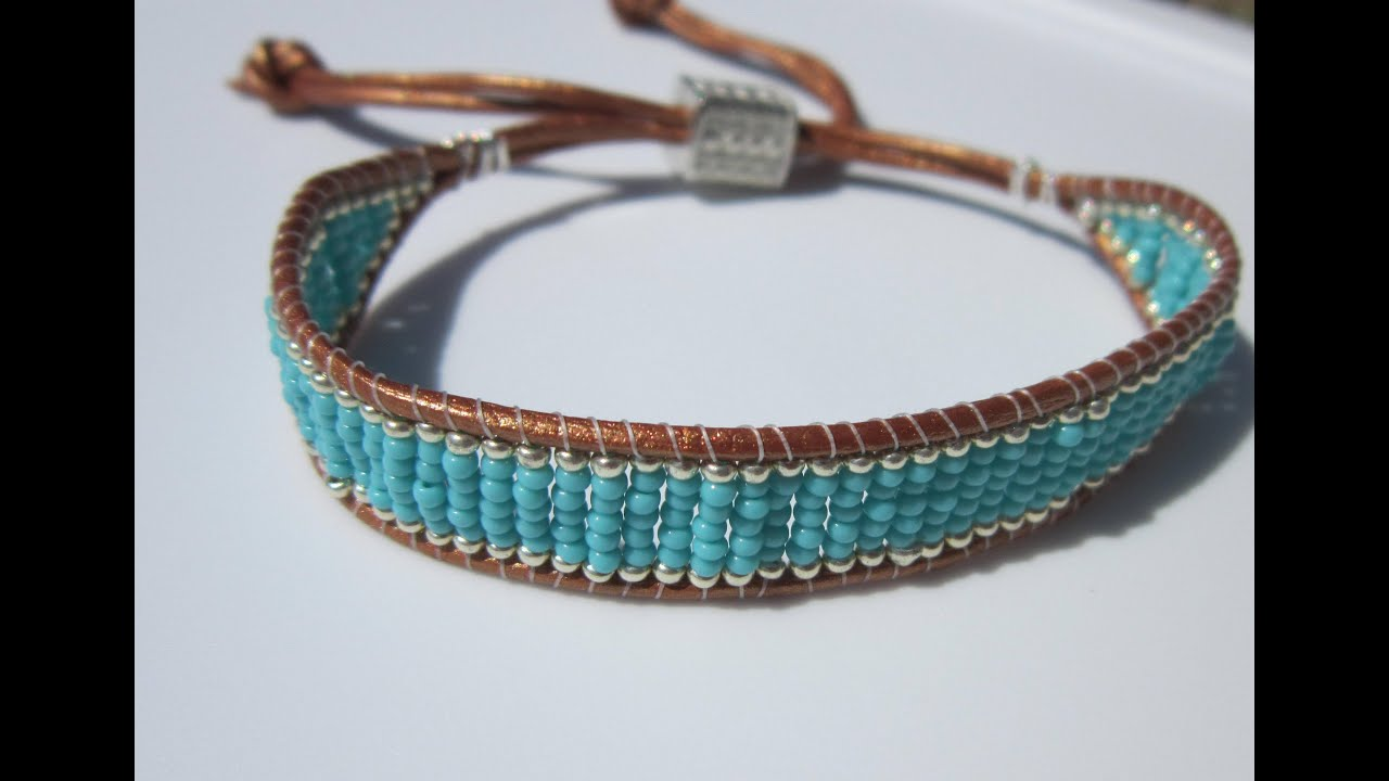 Turquoise And Silver Beaded Leather Bracelet БИРЮЗОВО СЕРЕБРЯНЫЙ БРА