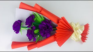 How To Make Beautiful Paper Flower Bouquet | Easy  Step By Step | Paper Flower Bouquet Tutorial