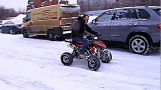 Детский квадроцикл Sym Fuxin Wolf 50 в снегу(Демонстрация детского квадроцикла Sym Fuxin Wolf 50 от мотосалона