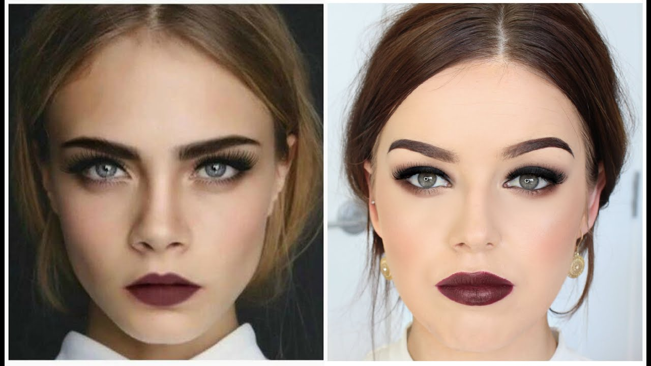 Cara delevingne inspired makeup tutorial smokey eyes dark cara delevingne inspired makeup tutorial smokey eyes dark lips youtube baditri Image collections