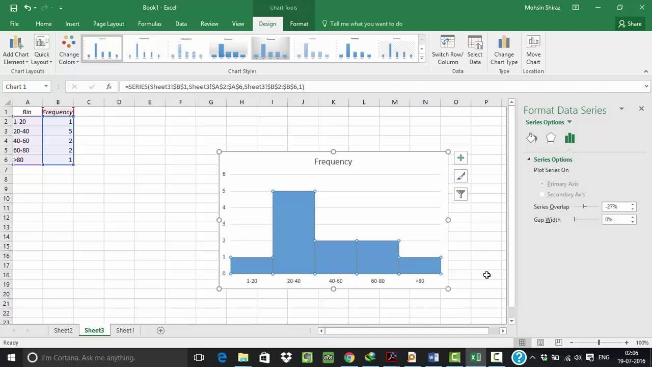 histogram in excel 2016