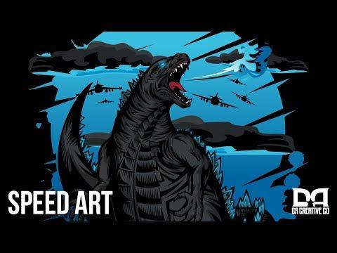 In God we Trust | Godzilla Vector Illustration | SPEED ART