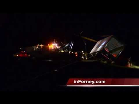 Overturned trailer uprighted on SH 205 in Terrell, Texas