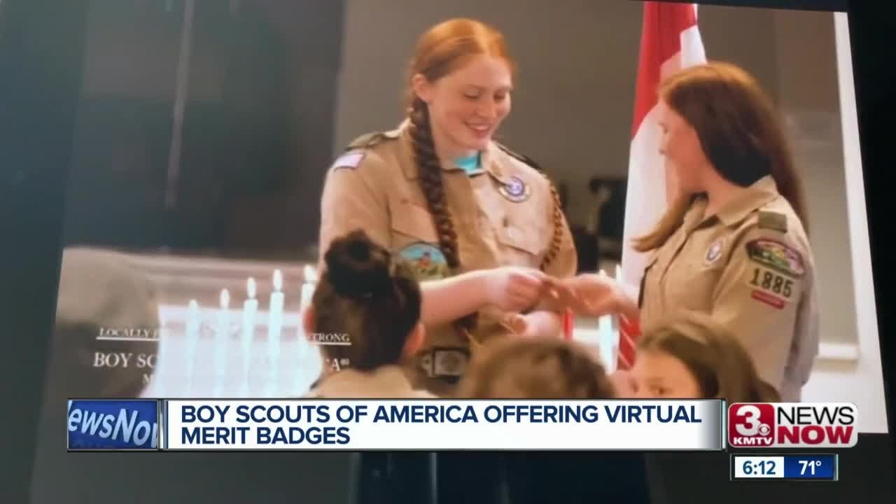 Boy Scouts handing out virtual merit badges