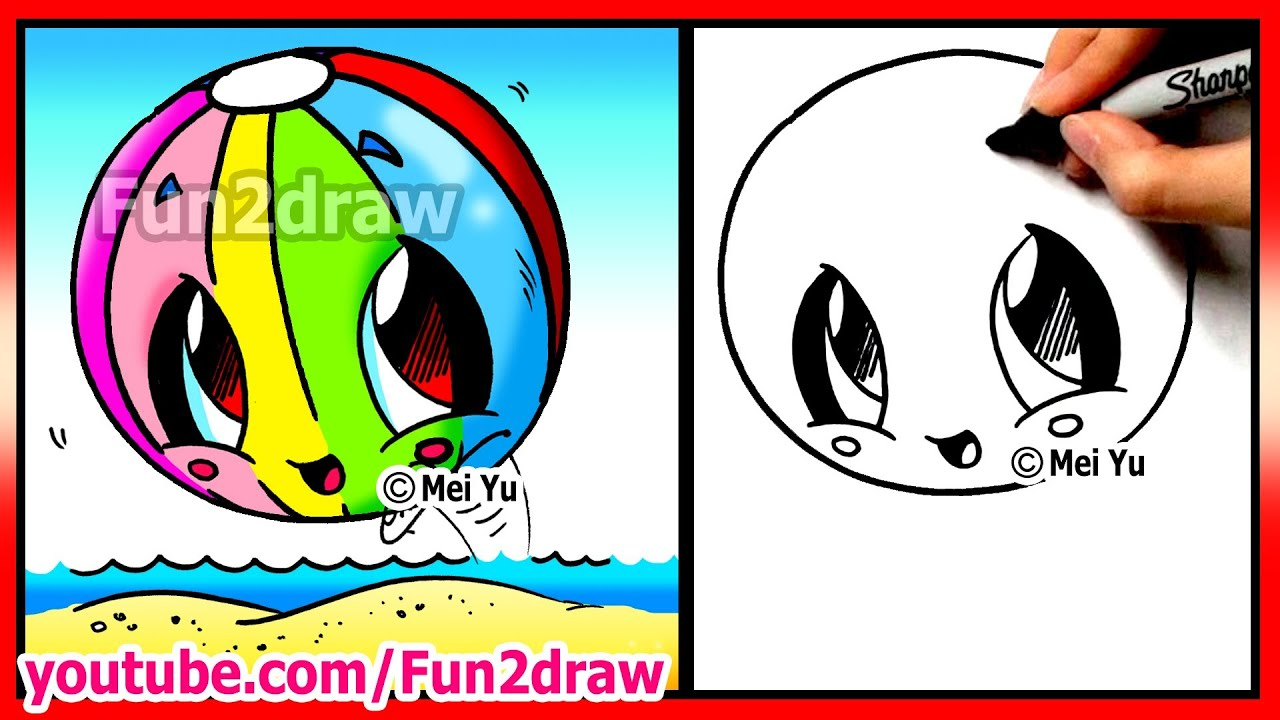 How To Draw Easy Things Kawaii Summer Beach Ball