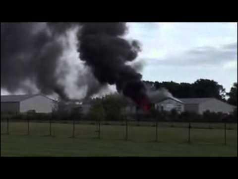 (RAW VIDEO) Fire burns in storage unit in Blue Grass, Iowa