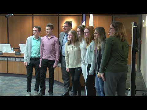Students from Bettendorf Middle School give a safety presentation at the Bettendorf City Council