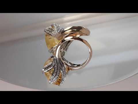 Кольцо с жёлтым топазом и бриллиантами.