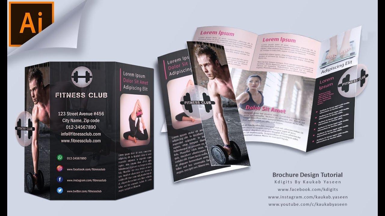 how to make tri fold brochure fitness club illustrator tutorial
